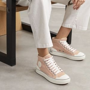 NEW Stella McCartney Pink Canvas High Top Sneakers